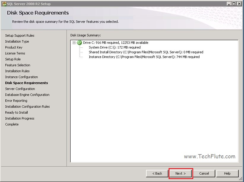 SQL 2008 Disk Requirement