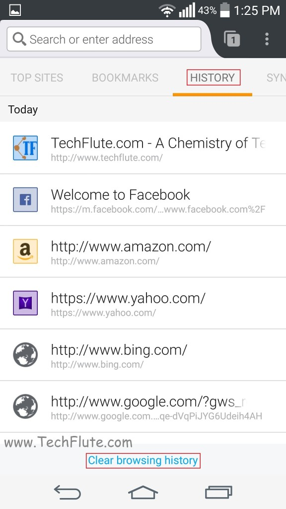 how to Clear History in FireFox Mobile Browser