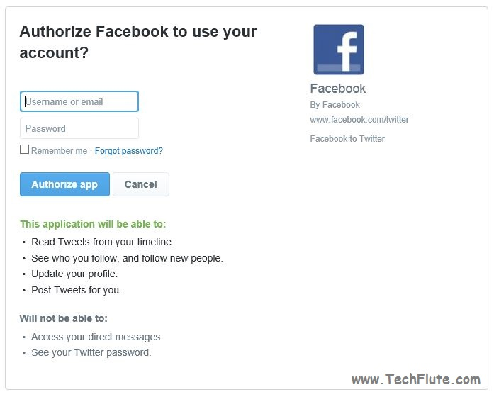 Link Facebook Page with Twitter Account